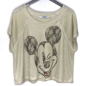 Disney Mickey Mouse Gold Metallic Cropped Top